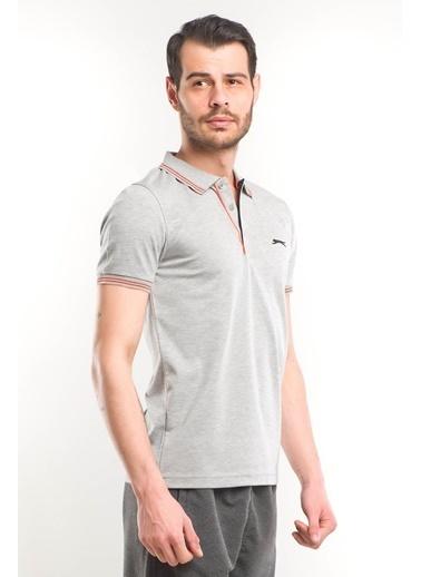 Slazenger Patern Erkek Kısa Kol Tişört Gri